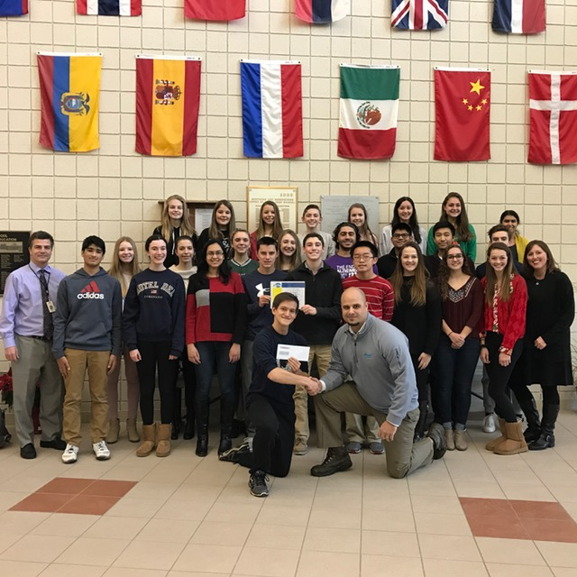 Upper St Clair Student Council was presented a $1,000 check by Model Cleaners President Dan LaCarte for finishing in 1st place in the Coats for Kids Competition!